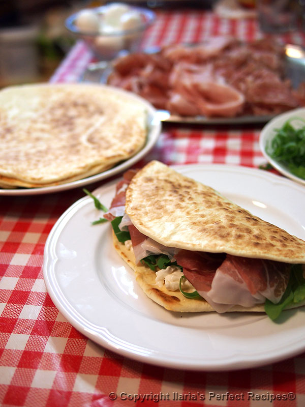 authentic soft piada piadina cold cuts arugula