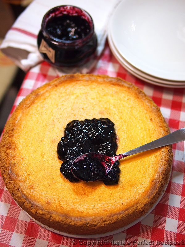 best italian cheese cake topped blueberry sauce